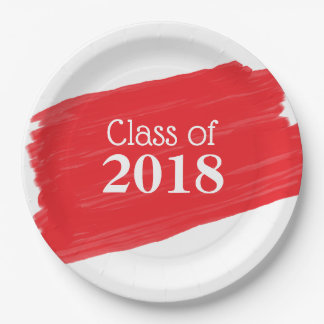Fun Red Oil Painting Graduation Design Paper Plate