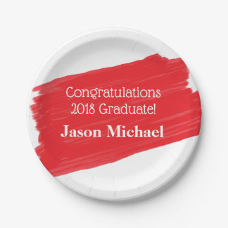 Fun Red Oil Painting Personalized Graduation Paper Plate