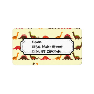 Fun Red Orange and Green Dinosaur Pattern Custom Address Labels