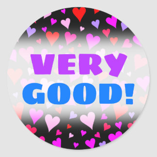 Fun Red, Pink, Purple & Magenta Hearts Pattern Classic Round Sticker