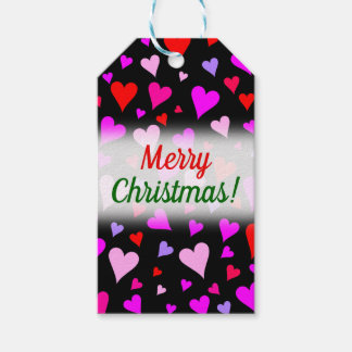 Fun Red, Pink, Purple & Magenta Hearts Pattern Gift Tags