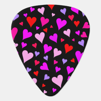Fun Red, Pink, Purple & Magenta Hearts Pattern Guitar Pick