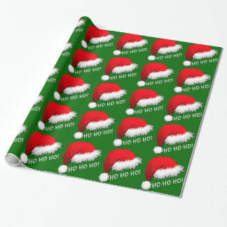 Fun Red Santa Claus Hat HOHOHO Wrapping Paper