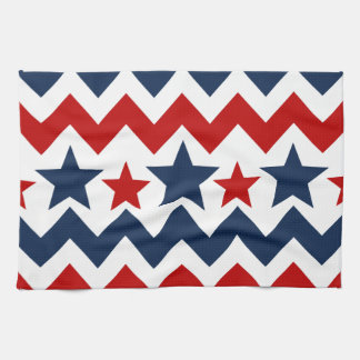 Fun Red White Blue Chevron Stars and Stripes Kitchen Towel