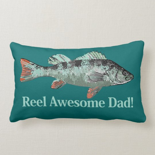 Fun Reel Awesome Dad Quote & Fish Lumbar Pillow