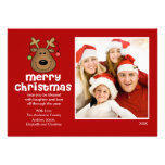 Fun Reindeer Christmas Flat Photo Card Custom Invite