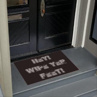 fun reminder slogan wipe your feet text doormat