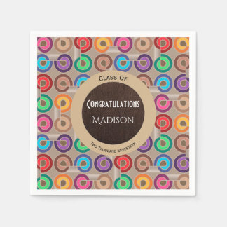 Fun Retro Abstract Graduation Paper Napkins