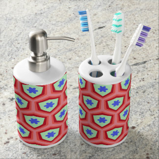 Fun retro blue floral geometric soap dispenser and toothbrush holder
