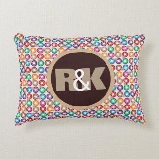 Fun Retro Circles w/Couples Monograms Accent Pillow