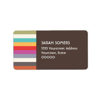 Fun Retro Colorful Multi Stripes Label