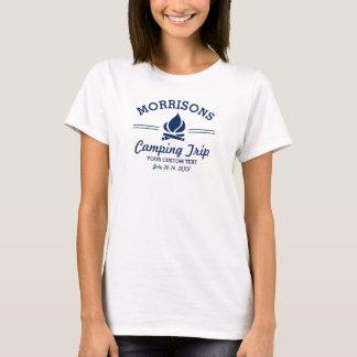 Fun Retro Custom Camping Trip Campfire Navy Blue T-Shirt