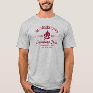Fun Retro Custom Camping Trip Campfire Red Logo T-Shirt