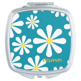 Fun Retro Daisy Blue White Yellow Personalized Travel Mirror