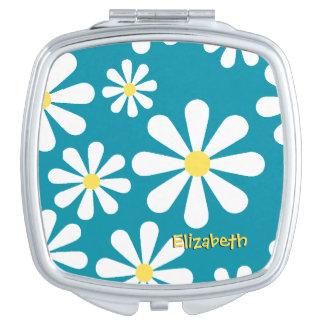 Fun Retro Daisy Blue White Yellow Personalized Vanity Mirrors