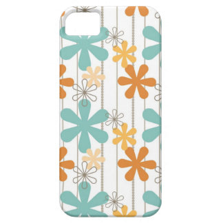 Fun Retro Floral Pattern Orange Blue Wall Flowers iPhone 5 Cover