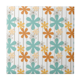 Fun Retro Floral Pattern Orange Blue Wall Flowers Tile
