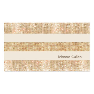 Fun Retro Gold FAUX Sequin Stripes Modern Double-Sided Standard Business Cards (Pack Of 100)