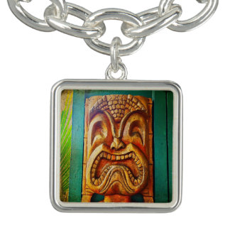 Fun, Retro, Hawaiian Wood Carving Tiki Face Photo Bracelet
