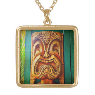 Fun, Retro, Hawaiian Wood Carving Tiki Face Photo Gold Plated Necklace