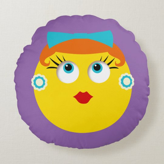 Fun Retro Lady with Bow and Earrings Round Pillow