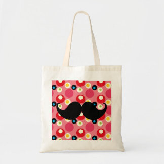 Fun Retro Mustache on 70s Colorful Background Tote Bag