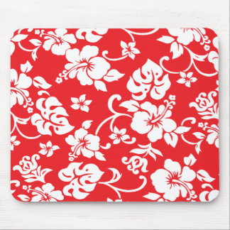 Fun retro Red Hawaiian Print Mousepad