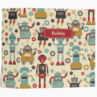 Fun Retro Robots Illustrated Pattern (Cream) Binders