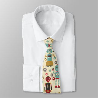 Fun Retro Robots Illustrated Pattern (Cream) Tie