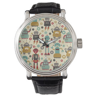 Fun Retro Robots Illustrated Pattern (Cream) Watch