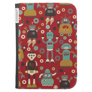 Fun Retro Robots Illustrated Pattern (Red) Cases For The Kindle