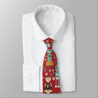 Fun Retro Robots Illustrated Pattern (Red) Tie