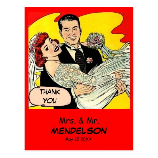 Fun retro vintage comic wedding thank you postcard