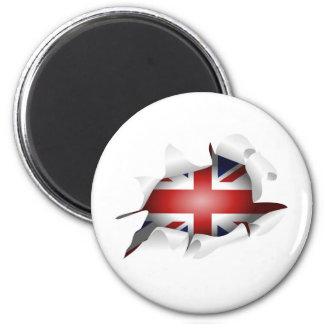 Fun Ripped Hole With Union jack Flag Magnet