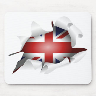 Fun Ripped Hole With Union jack Flag Mousepads