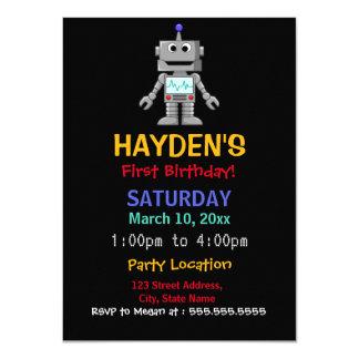Fun Robot First Birthday Party Invitation