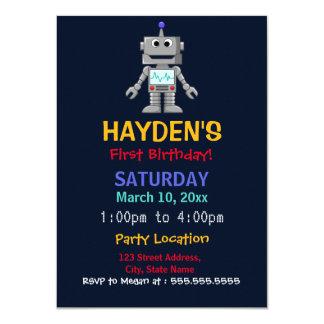 Fun Robot First Birthday Party Invite