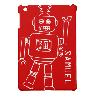 Fun robot kids named red white ipad mini case