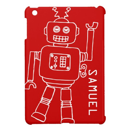 Fun robot kids named red white ipad mini case