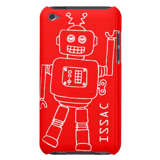 Fun robot named red & white boys ipod touch case