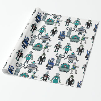 fun Robot Wrapping Paper for Kids, Geeks, Science