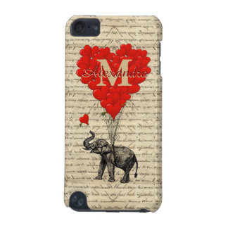Fun romantic elephant love heart personalized iPod touch (5th generation) case