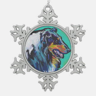 Fun Rough Collie bright colorful Pop Art Pewter Snowflake Ornament