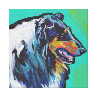 Fun Rough Collie bright colorful Pop Art Stretched Canvas Print