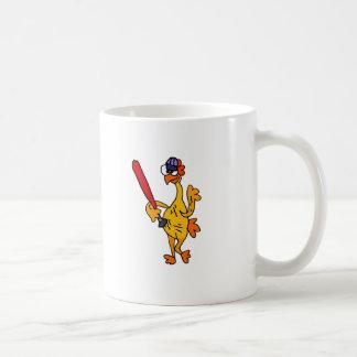 Fun Rubber Chicken Playing Baseball Cartoon Coffee Mug
