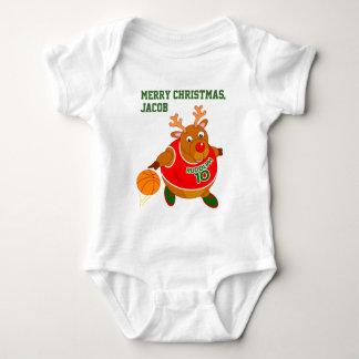 Fun Rudolph the Reindeer dribbling a basketball, Baby Bodysuit