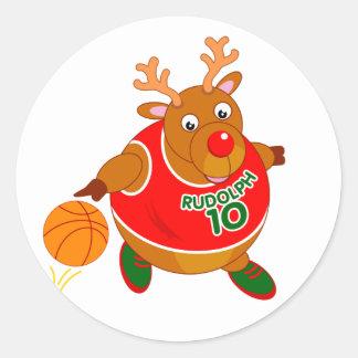 Fun Rudolph the Reindeer dribbling a basketball, Classic Round Sticker