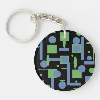 Fun Sage and Periwinkle Geometric Shapes Pattern Double-Sided Round Acrylic Keychain