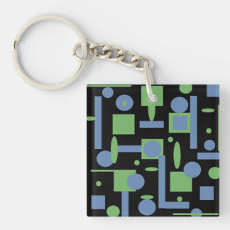 Fun Sage and Periwinkle Geometric Shapes Pattern Double-Sided Square Acrylic Keychain