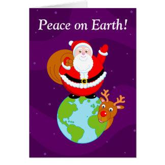 """Fun Santa Claus & Rudolph """"Peace on Earth"""" cartoon Card"""